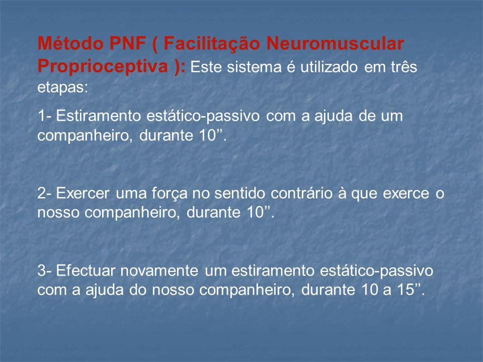 Método PNF ( Facilitação Neuromuscular Proprioceptiva ): Este sistema é utilizado em três etapas: