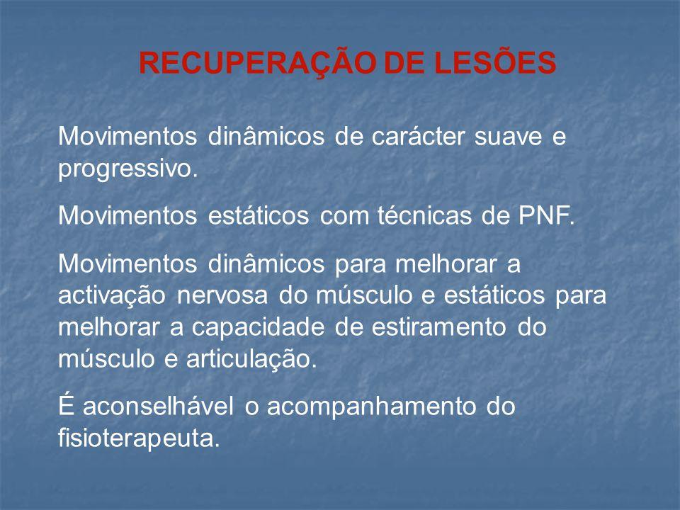 RECUPERAÇÃO DE LESÕES Movimentos dinâmicos de carácter suave e progressivo. Movimentos estáticos com técnicas de PNF.