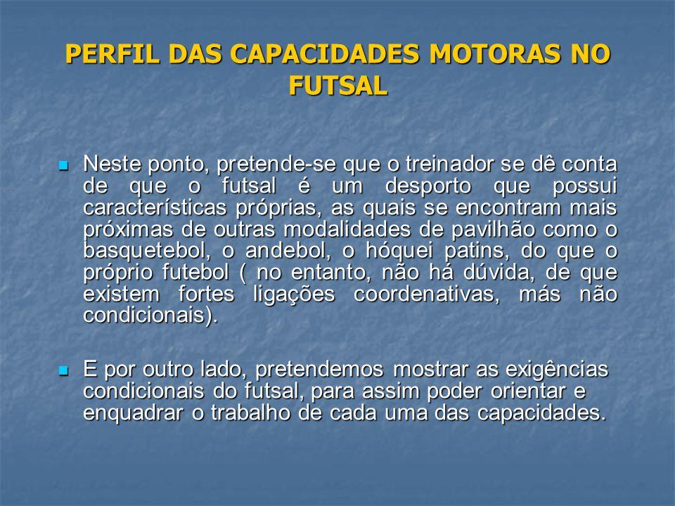 PERFIL DAS CAPACIDADES MOTORAS NO FUTSAL