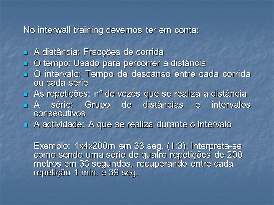 No interwall training devemos ter em conta: