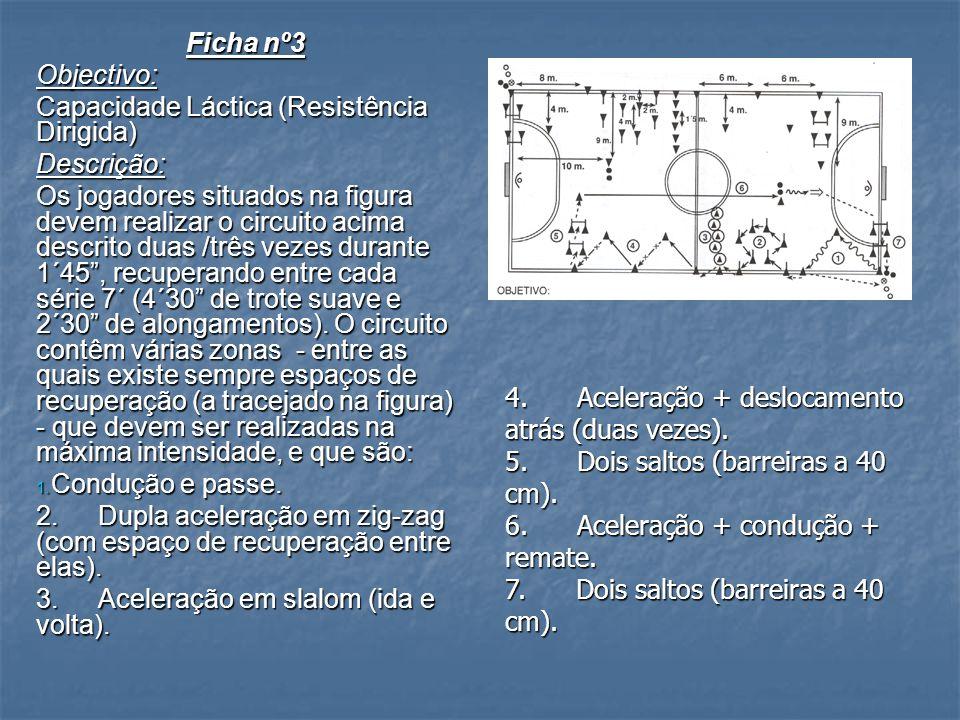 Ficha nº3 Objectivo: Capacidade Láctica (Resistência Dirigida) Descrição: