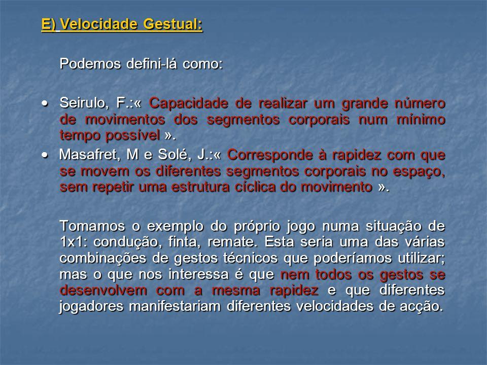 E) Velocidade Gestual: