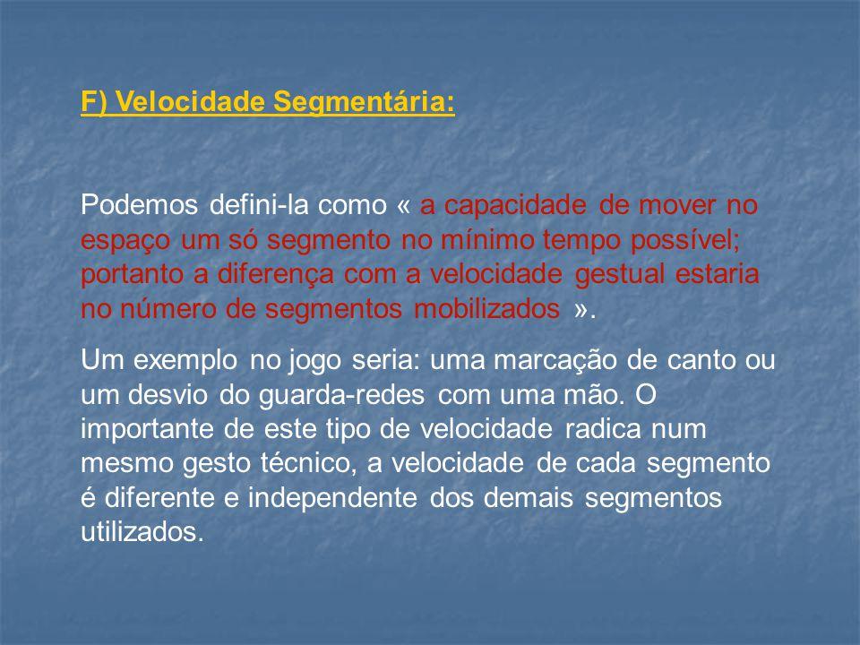 F) Velocidade Segmentária: