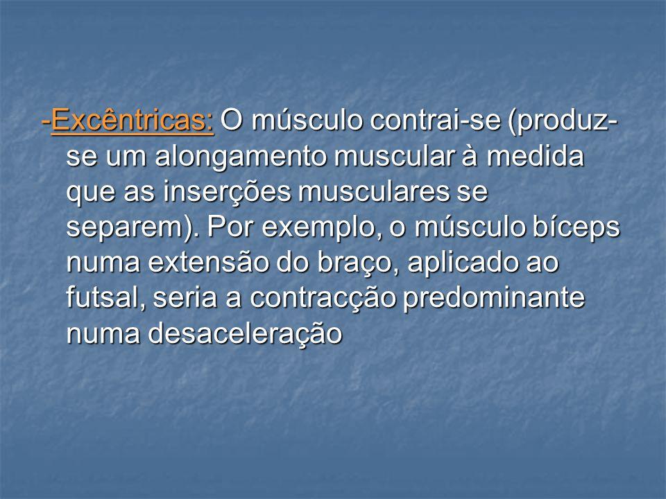 -Excêntricas: O músculo contrai-se (produz-se um alongamento muscular à medida que as inserções musculares se separem).