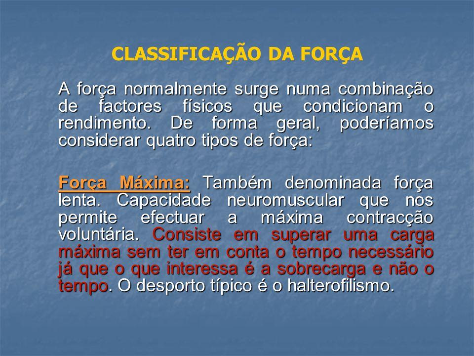 CLASSIFICAÇÃO DA FORÇA