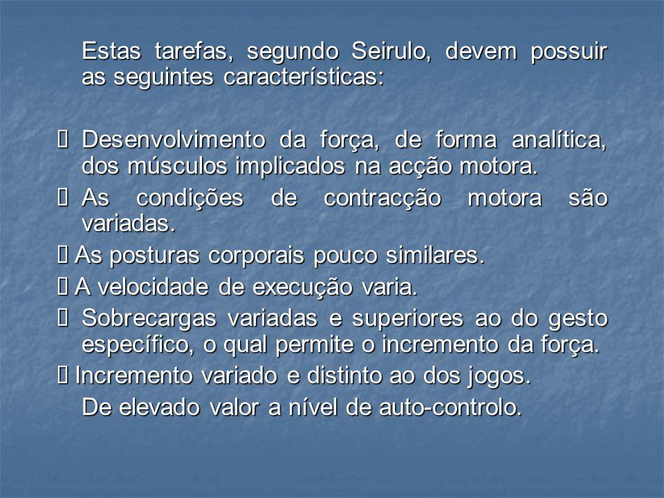Estas tarefas, segundo Seirulo, devem possuir as seguintes características: