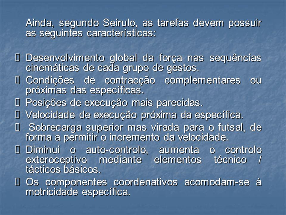 Ainda, segundo Seirulo, as tarefas devem possuir as seguintes características: