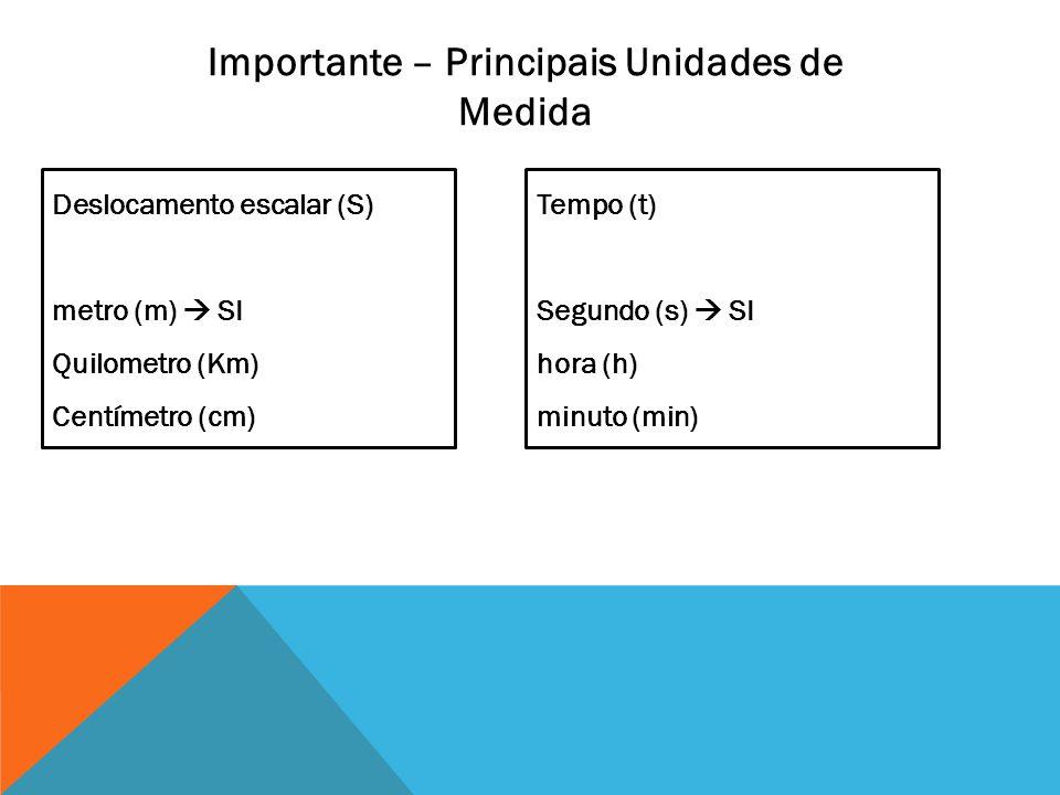 Importante – Principais Unidades de Medida