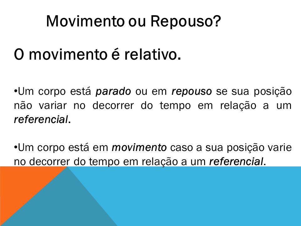 Movimento ou Repouso O movimento é relativo.