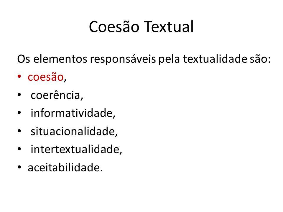 Coesão Textual Os elementos responsáveis pela textualidade são: