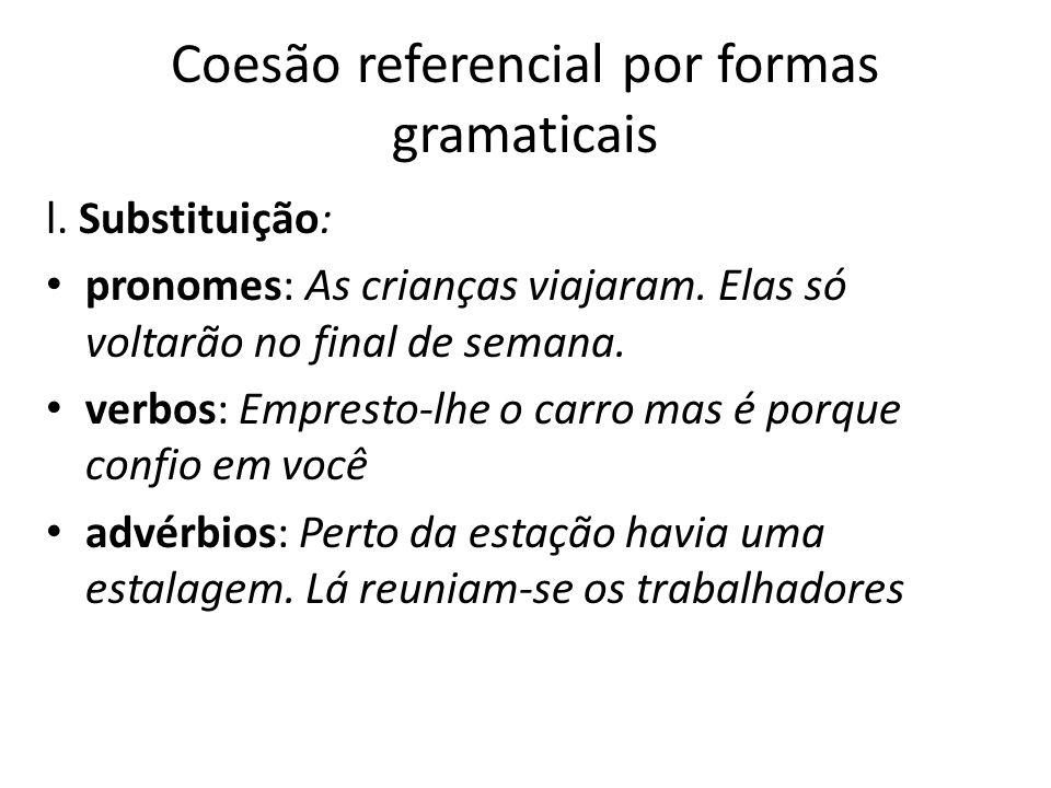 Coesão referencial por formas gramaticais
