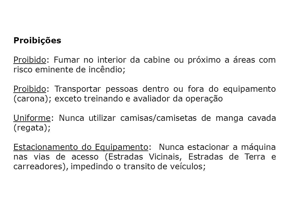 Proibições Proibido: Fumar no interior da cabine ou próximo a áreas com risco eminente de incêndio;