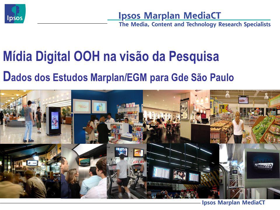Mídia Digital OOH na visão da Pesquisa Dados dos Estudos Marplan/EGM para Gde São Paulo