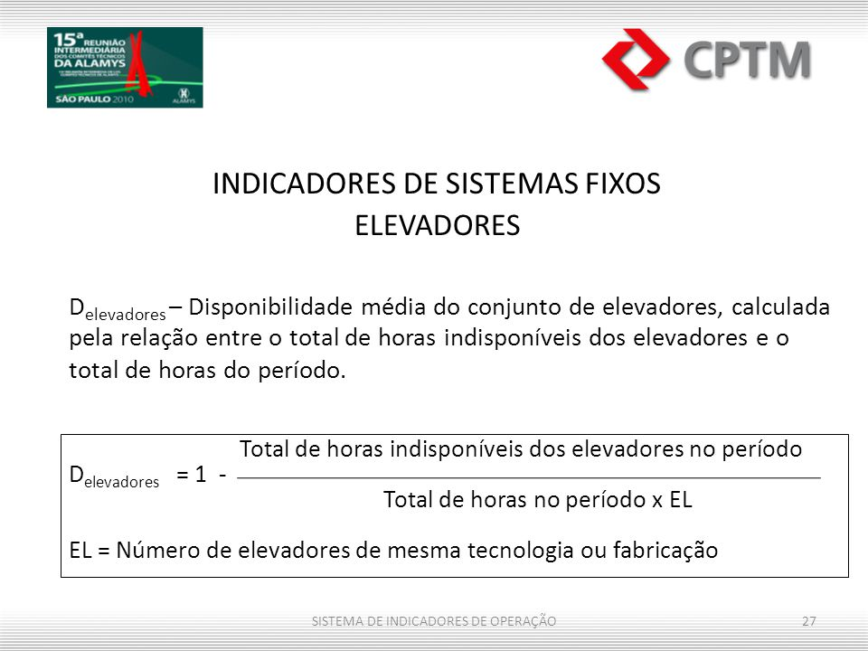 Total de horas indisponíveis dos elevadores no período