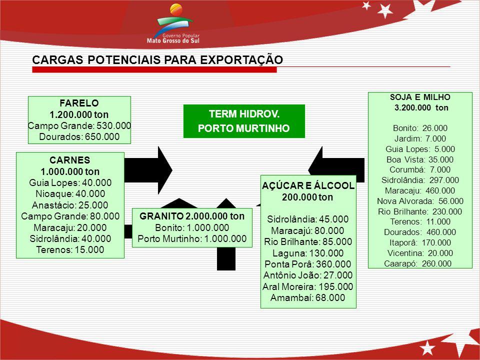 CARGAS POTENCIAIS PARA EXPORTAÇÃO