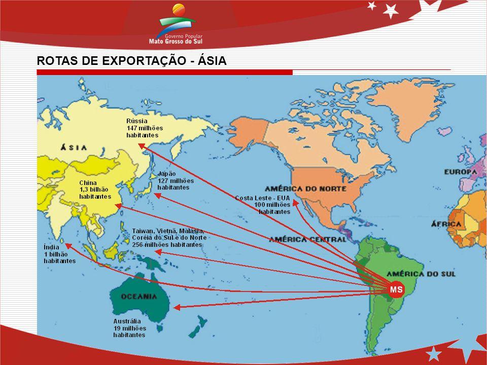 ROTAS DE EXPORTAÇÃO - ÁSIA