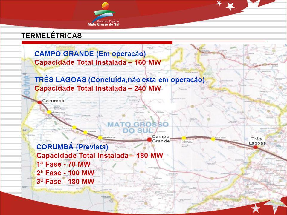 TERMELÉTRICAS CAMPO GRANDE (Em operação) Capacidade Total Instalada – 160 MW. TRÊS LAGOAS (Concluída,não esta em operação)