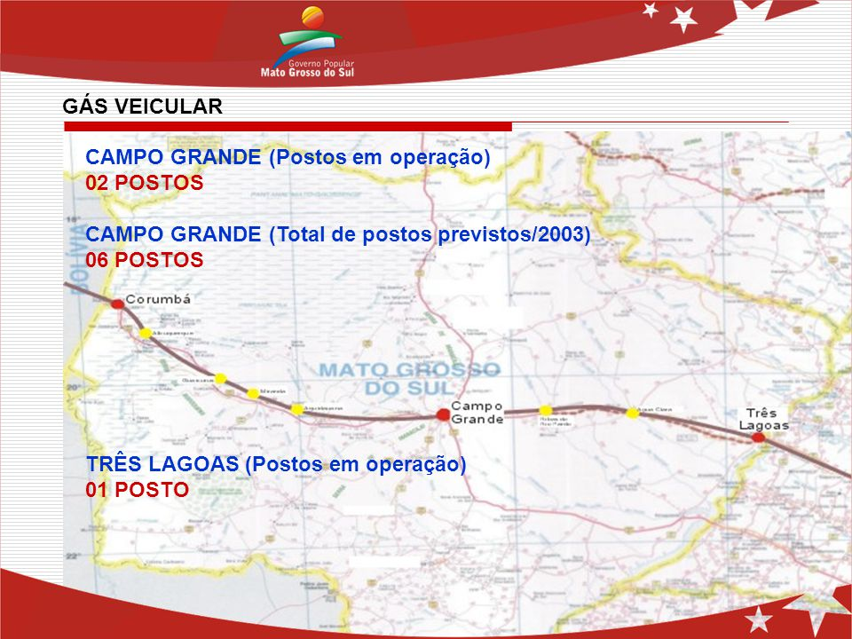 GÁS VEICULAR CAMPO GRANDE (Postos em operação) 02 POSTOS. CAMPO GRANDE (Total de postos previstos/2003)