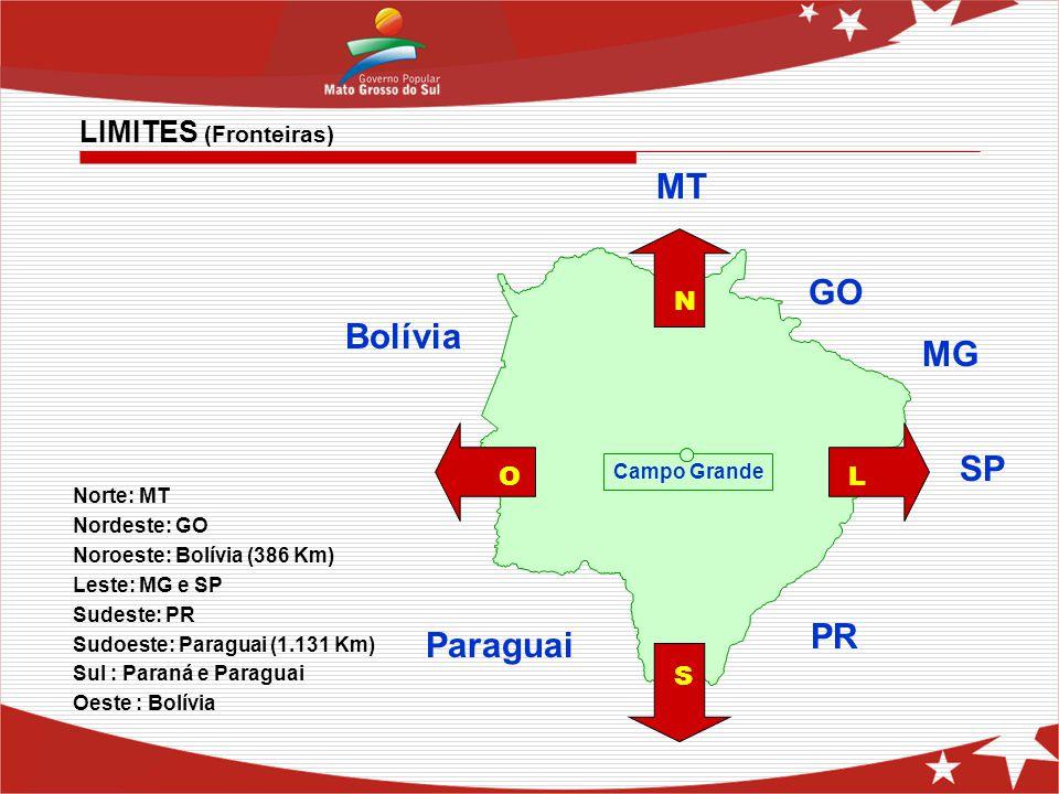MT GO Bolívia MG SP PR Paraguai LIMITES (Fronteiras) N O L S