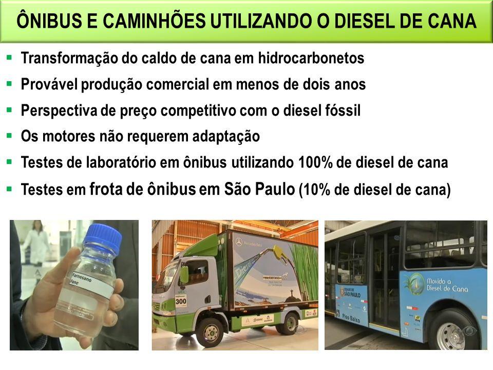 ÔNIBUS E CAMINHÕES UTILIZANDO O DIESEL DE CANA