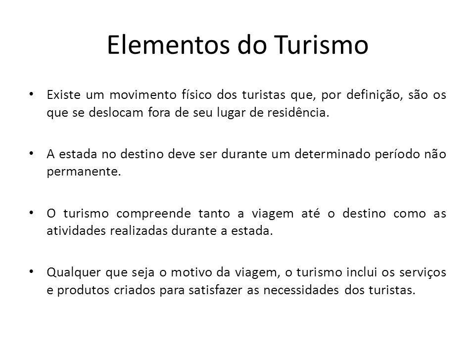 Elementos do Turismo Existe um movimento físico dos turistas que, por definição, são os que se deslocam fora de seu lugar de residência.