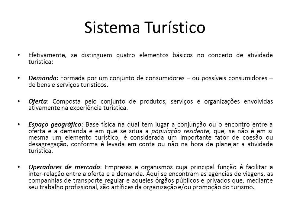 Sistema Turístico Efetivamente, se distinguem quatro elementos básicos no conceito de atividade turística: