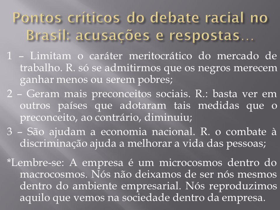 Pontos críticos do debate racial no Brasil: acusações e respostas…