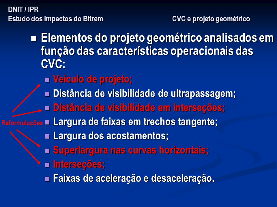 DNIT / IPR Estudo dos Impactos do Bitrem CVC e projeto geométrico