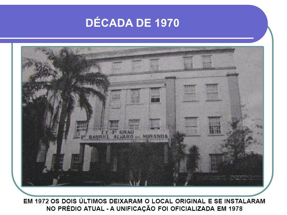 DÉCADA DE 1970 EM 1972 OS DOIS ÚLTIMOS DEIXARAM O LOCAL ORIGINAL E SE INSTALARAM NO PRÉDIO ATUAL - A UNIFICAÇÃO FOI OFICIALIZADA EM 1978.