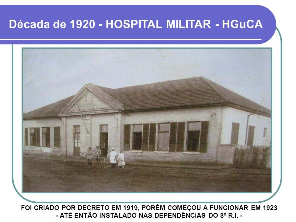Década de 1920 - HOSPITAL MILITAR - HGuCA