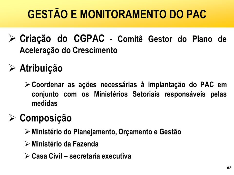GESTÃO E MONITORAMENTO DO PAC