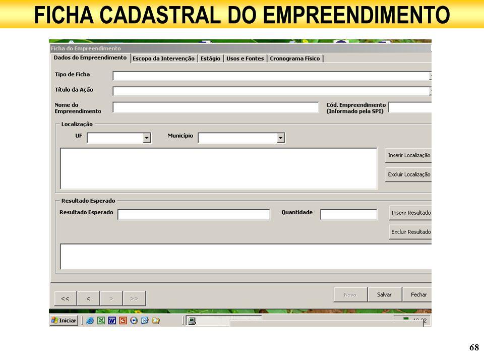 FICHA CADASTRAL DO EMPREENDIMENTO