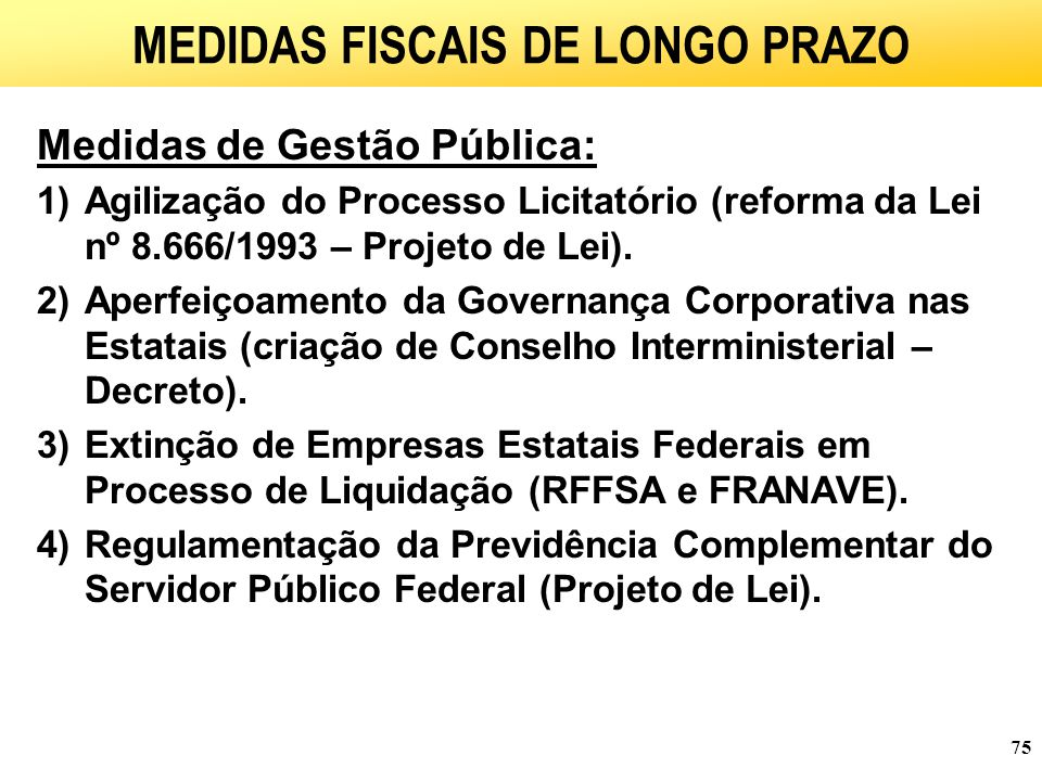 MEDIDAS FISCAIS DE LONGO PRAZO