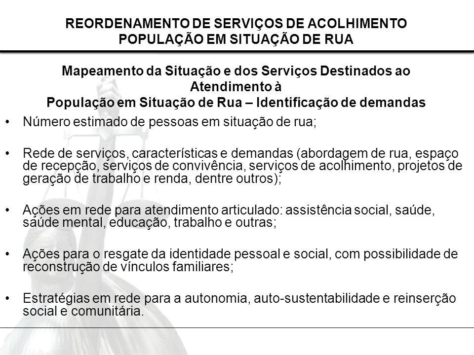 REORDENAMENTO DE SERVIÇOS DE ACOLHIMENTO POPULAÇÃO EM SITUAÇÃO DE RUA Mapeamento da Situação e dos Serviços Destinados ao Atendimento à População em Situação de Rua – Identificação de demandas