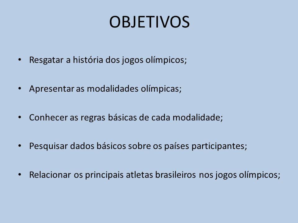 OBJETIVOS Resgatar a história dos jogos olímpicos;
