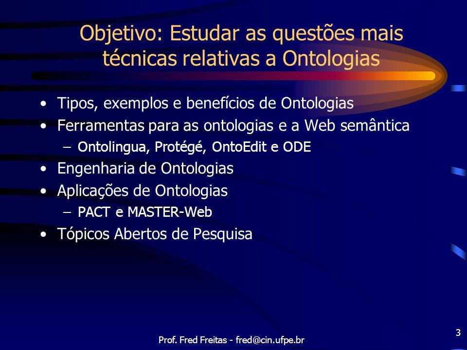 Objetivo: Estudar as questões mais técnicas relativas a Ontologias