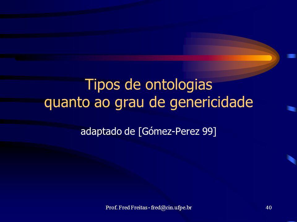 Tipos de ontologias quanto ao grau de genericidade