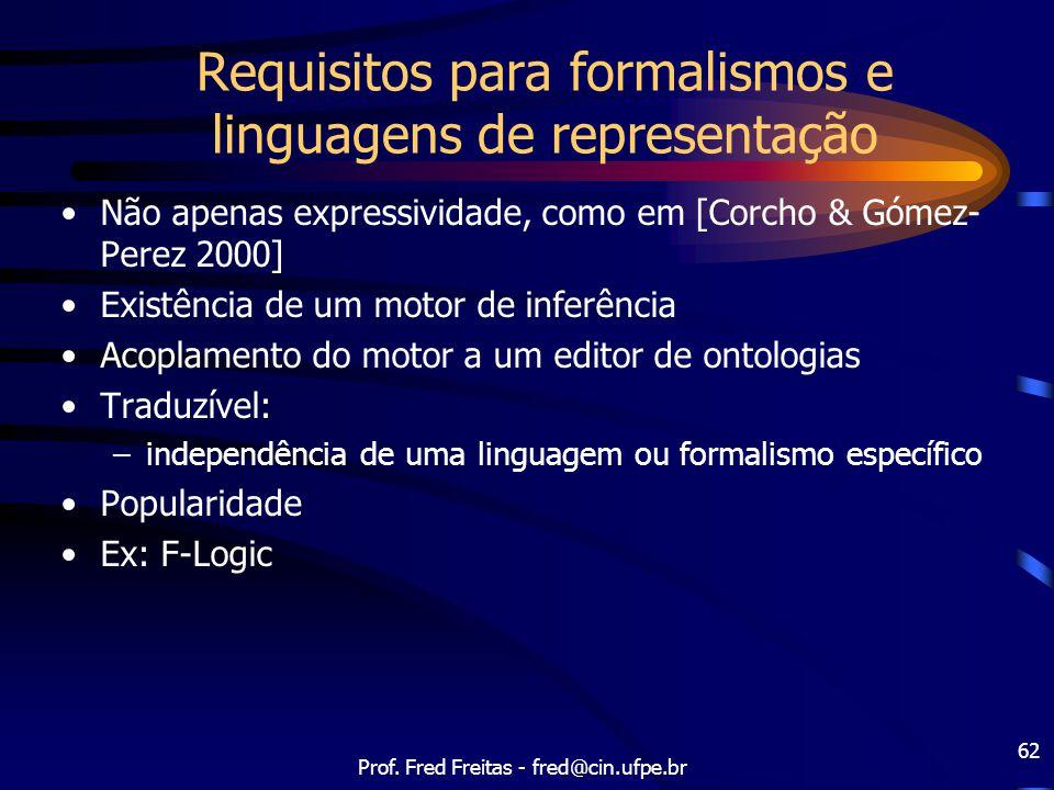 Requisitos para formalismos e linguagens de representação