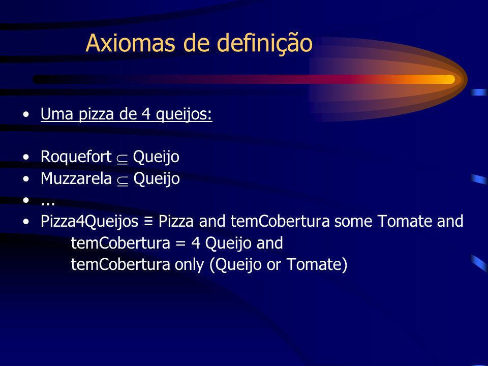 Axiomas de definição Uma pizza de 4 queijos: Roquefort  Queijo