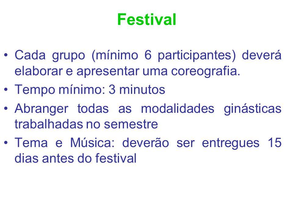 Festival Cada grupo (mínimo 6 participantes) deverá elaborar e apresentar uma coreografia. Tempo mínimo: 3 minutos.