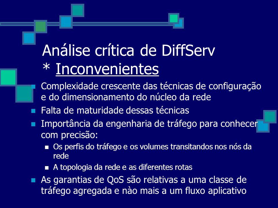 Análise crítica de DiffServ * Inconvenientes
