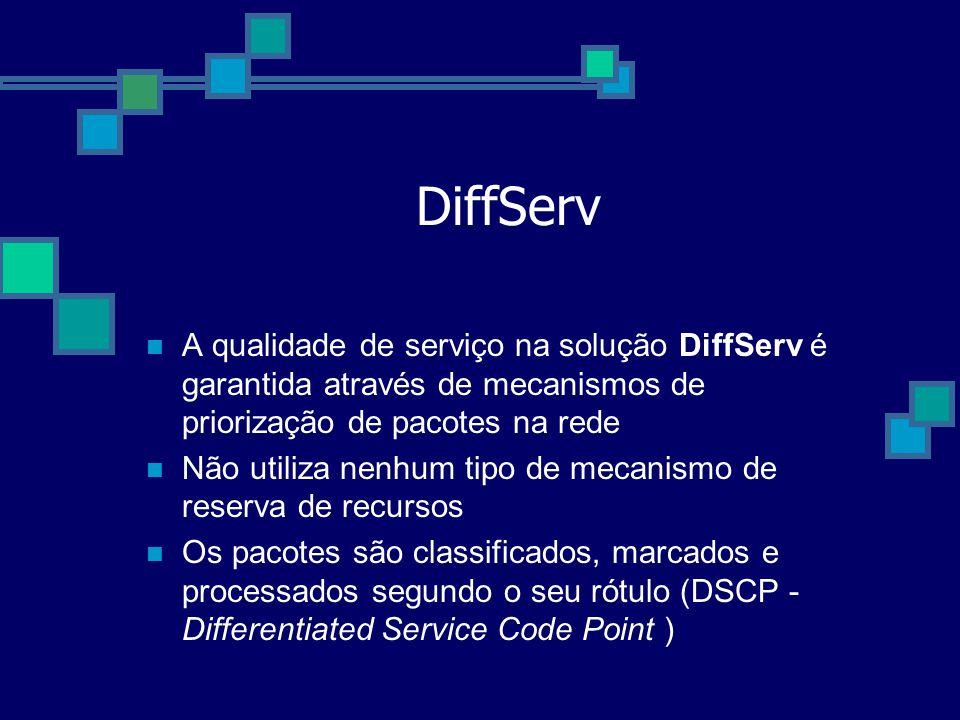 DiffServ A qualidade de serviço na solução DiffServ é garantida através de mecanismos de priorização de pacotes na rede.