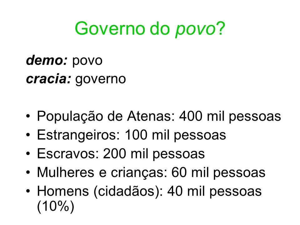 Governo do povo demo: povo cracia: governo