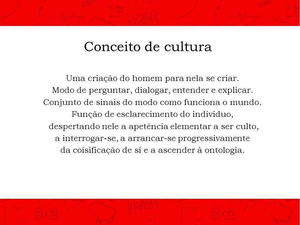Conceito de cultura Uma criação do homem para nela se criar.