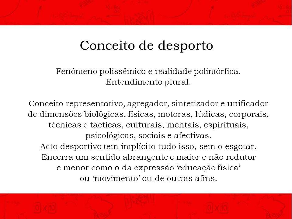 Conceito de desporto Fenómeno polissémico e realidade polimórfica.