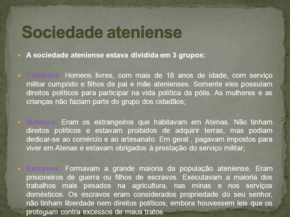 Sociedade ateniense A sociedade ateniense estava dividida em 3 grupos: