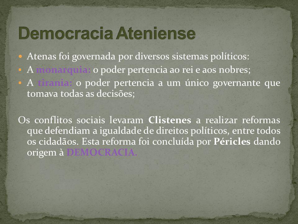 Democracia Ateniense Atenas foi governada por diversos sistemas políticos: A monarquia: o poder pertencia ao rei e aos nobres;