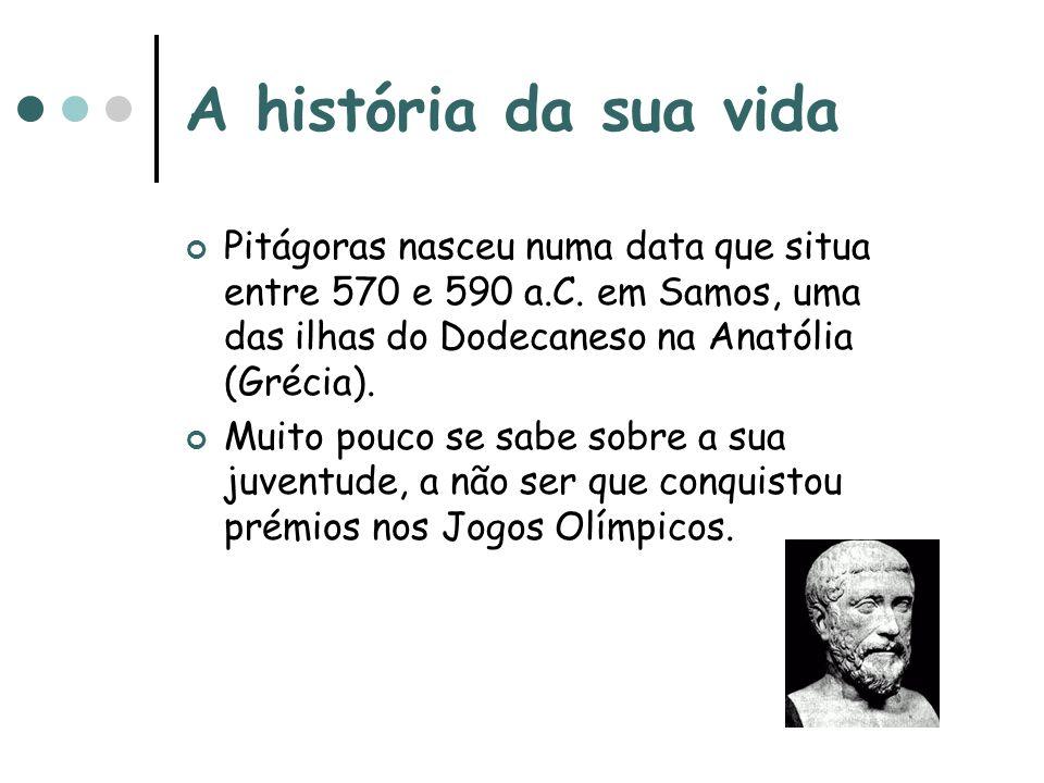 A história da sua vida Pitágoras nasceu numa data que situa entre 570 e 590 a.C. em Samos, uma das ilhas do Dodecaneso na Anatólia (Grécia).