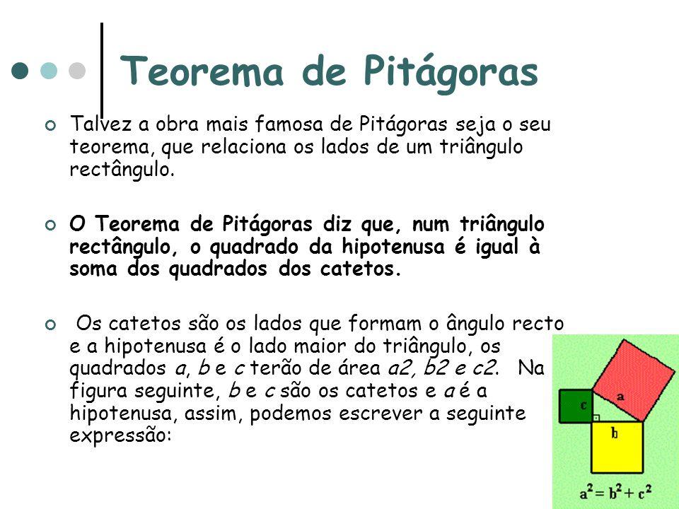 Teorema de Pitágoras Talvez a obra mais famosa de Pitágoras seja o seu teorema, que relaciona os lados de um triângulo rectângulo.
