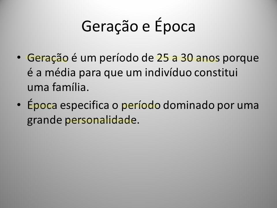 Geração e Época Geração é um período de 25 a 30 anos porque é a média para que um indivíduo constitui uma família.